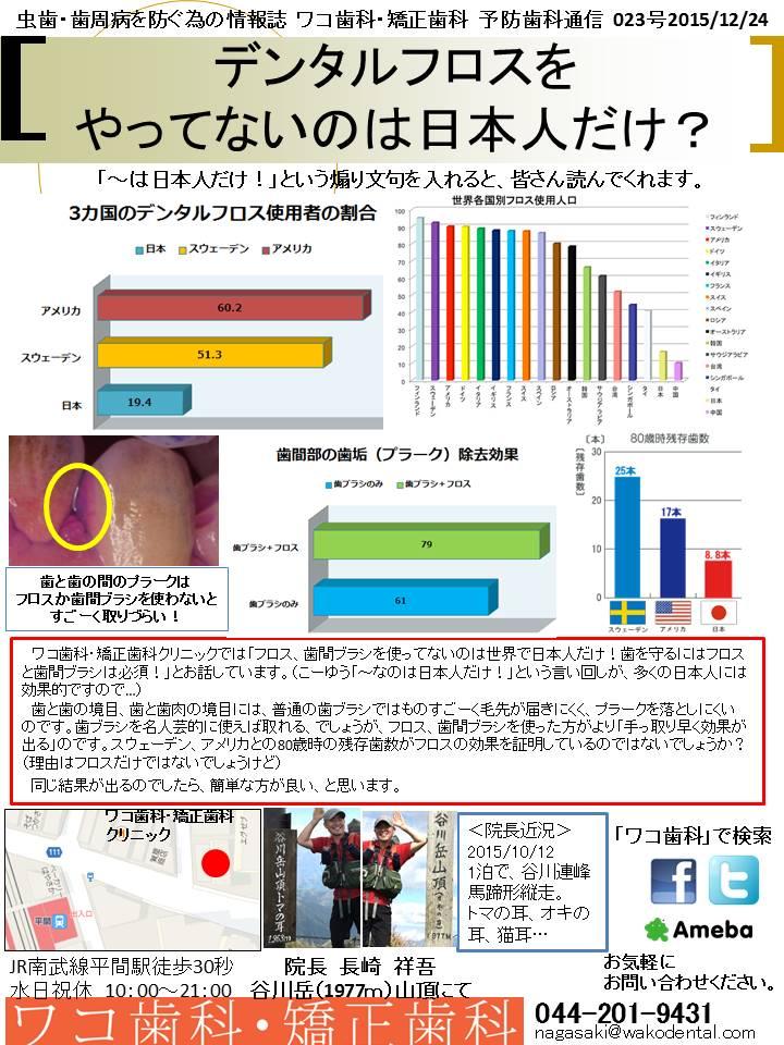 予防歯科通信23(2015年12月24日号)