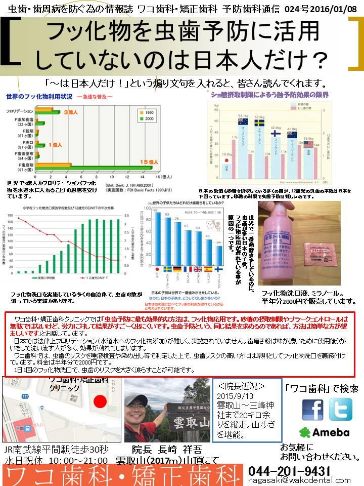 予防歯科通信25(2016年1月8日 no2号)