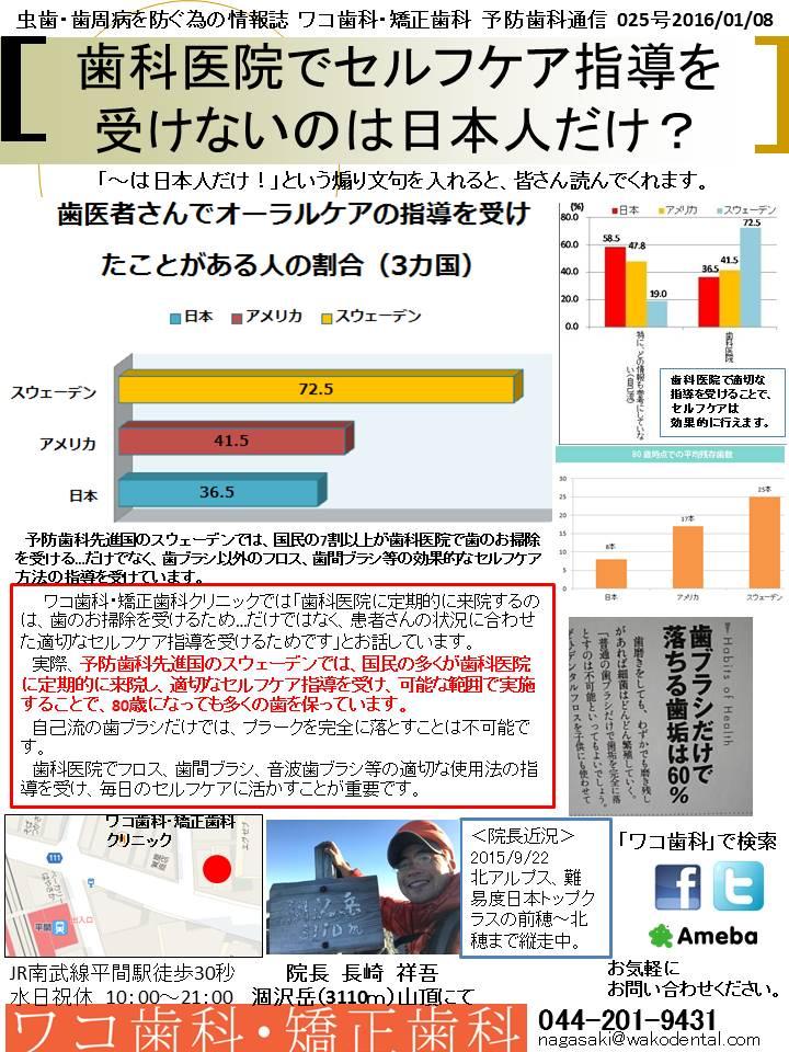 予防歯科通信26(2016年1月8日 no3号)