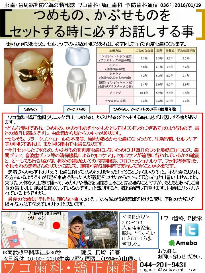 予防歯科通信31(2016年1月10日 no1号)