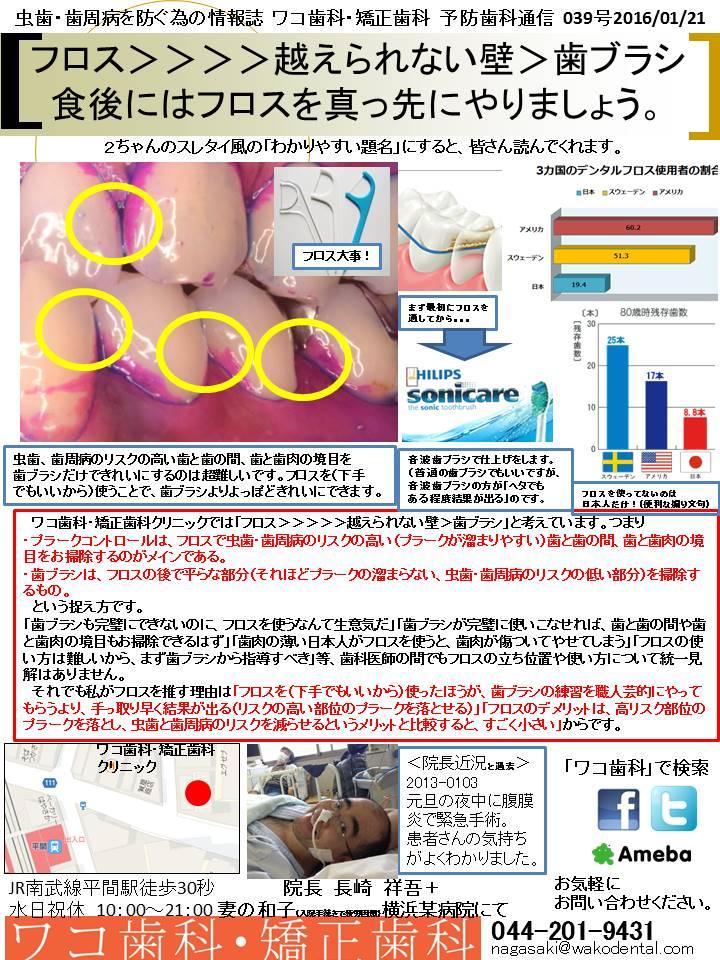 予防歯科通信38(2016年1月21日)
