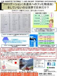 フロリデーション(水道水へのフッ化物添加)をしていないのは世界で日本だけ?(2016-0114)
